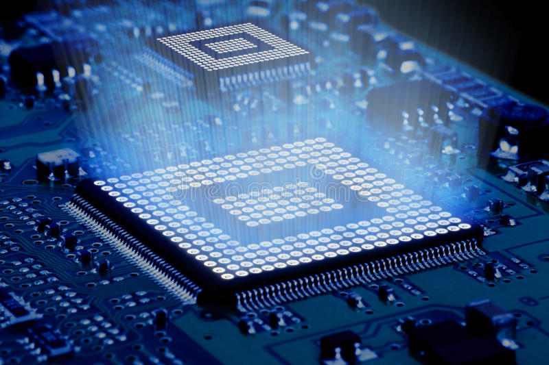 Processor and motherboard. Circuit of high technology royalty free stock photos
