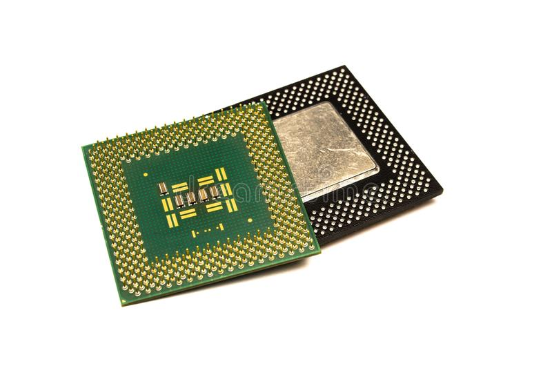 Processors chip. Processor chip. Computer component - cpu central processing unit isolated on white background royalty free stock photos