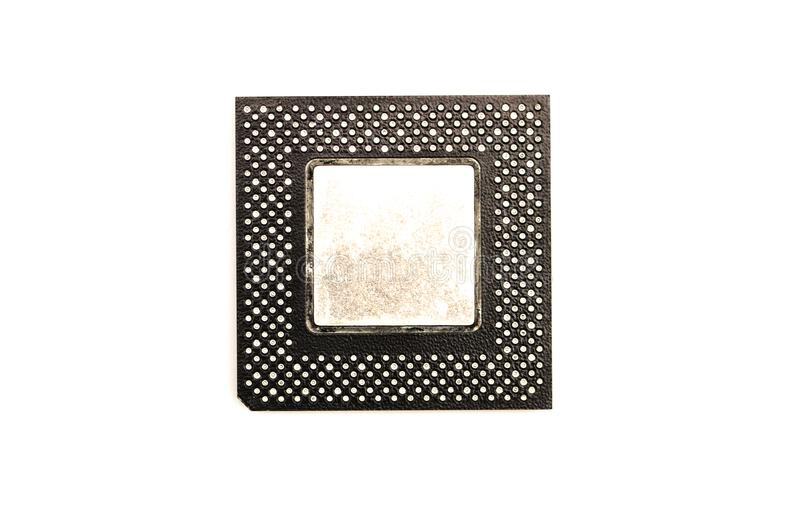 Processors chip. Processor chip, cpu central processing unit isolated on white background. Top view stock image
