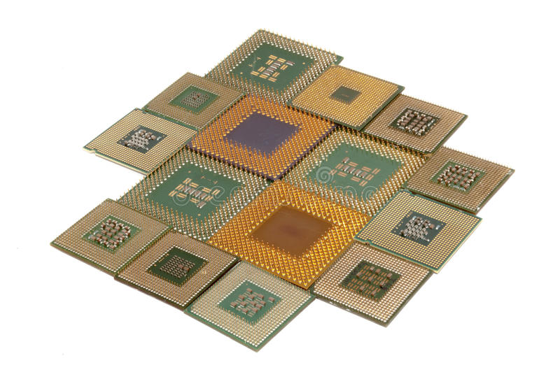 Processors. Processor isolated against white background stock photography