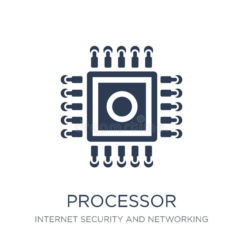 Processorsymbol Moderiktig plan vektorprocessorsymbol på vit backg royaltyfri illustrationer
