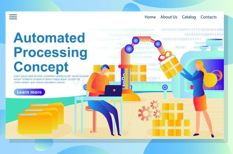 Processus automatisé de gestion à la société de production et comment les gens sont impliqués dans elle illustration libre de droits