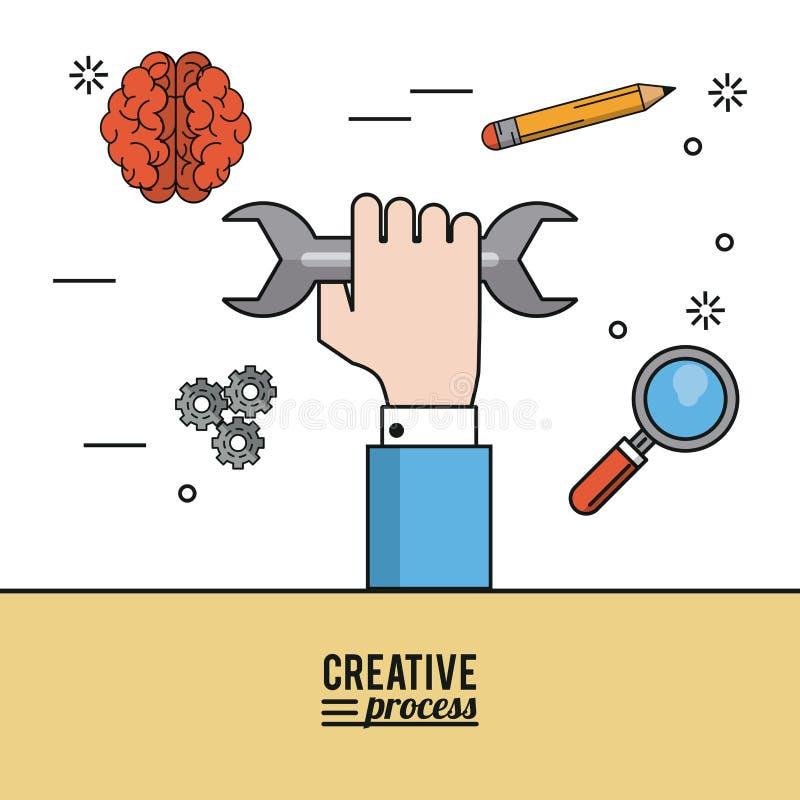 Processus créatif d'affiche colorée de main avec la clé et icônes comme crayon et cerveau et pignons et loupe illustration stock