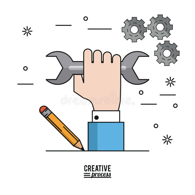Processus créatif d'affiche colorée de main avec la clé et le crayon et les pignons sur le fond illustration de vecteur