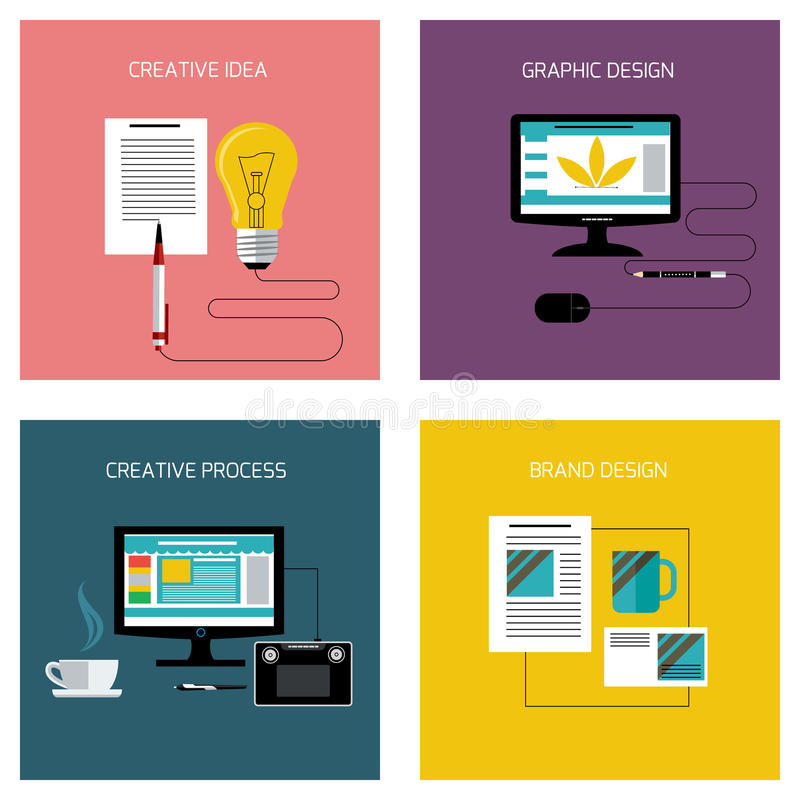 Processus créatif, ensemble de marquage à chaud d'icône de conception graphique illustration libre de droits