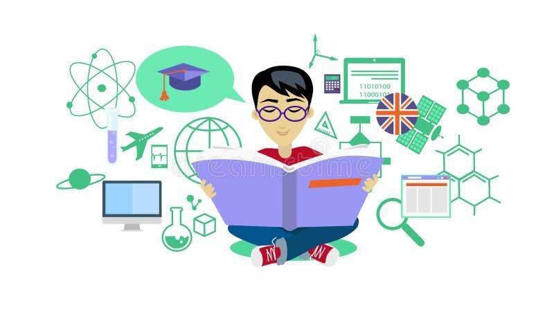 Processus d'apprendre la conception plate d'icône illustration libre de droits