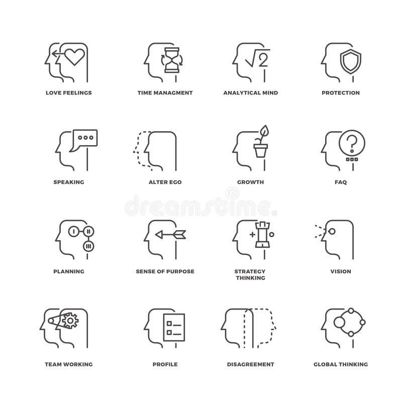Processus d'esprit humain, ligne icônes de caractéristiques de cerveau de vecteur réglées illustration de vecteur