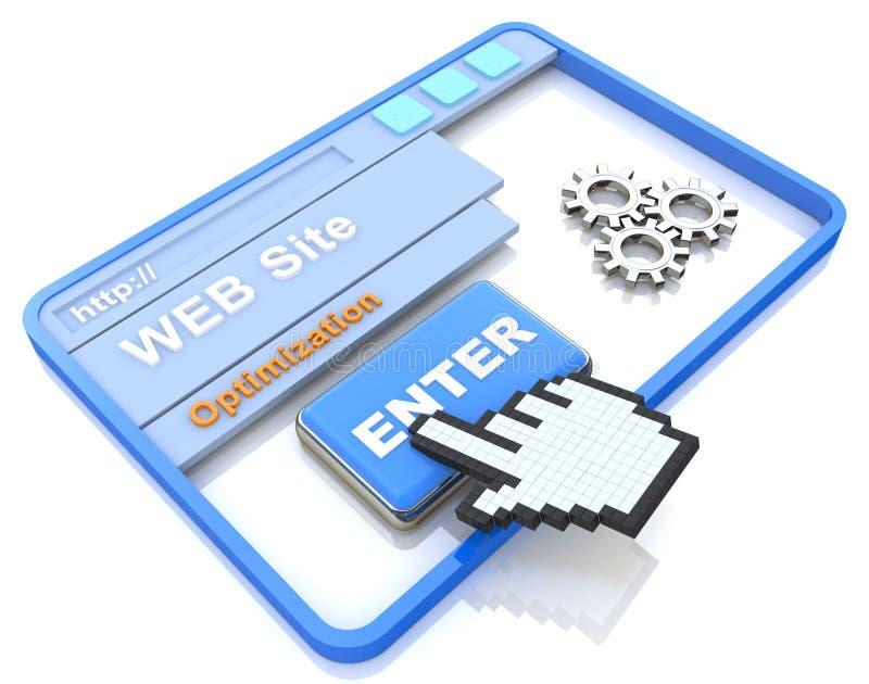 Processus d'optimisation de site Web - concept d'Internet illustration stock