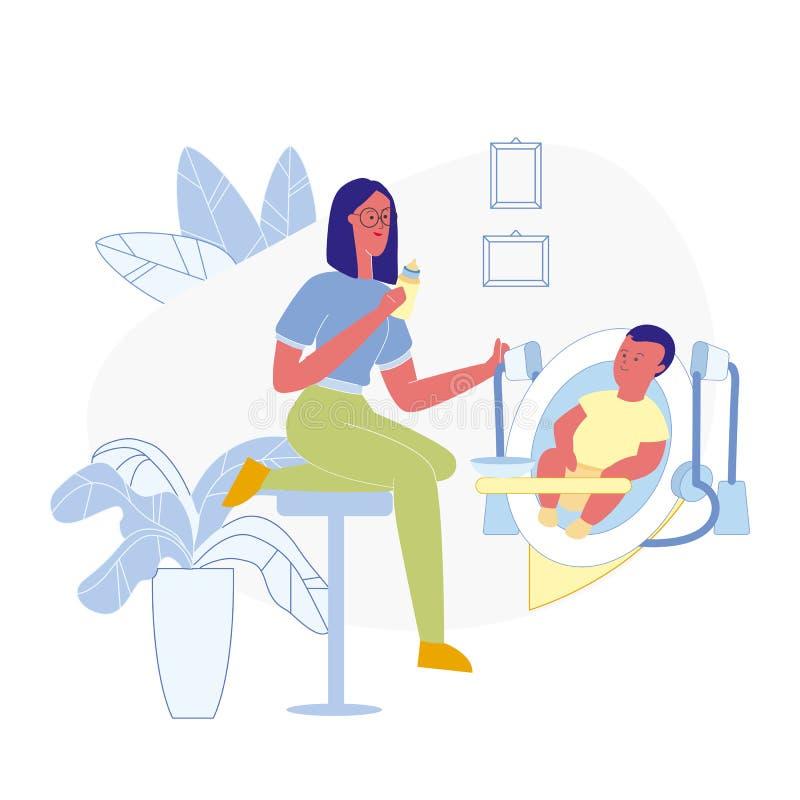 Processus de alimentation d'enfant en bas âge illustration plate de vecteur illustration libre de droits
