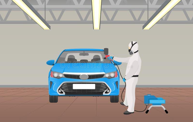 Processus de coloration de voiture par l'illustration de vecteur de travailleur illustration libre de droits