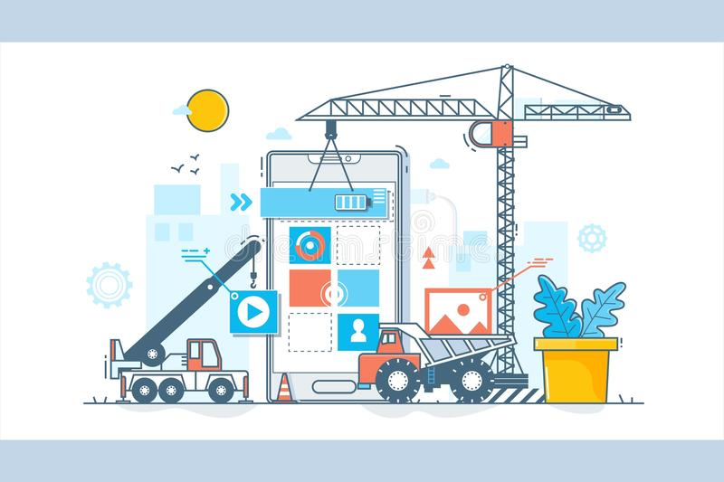 Processus de développement d'APP Construction de web design Illustration de vecteur dans le style linéaire plat illustration de vecteur