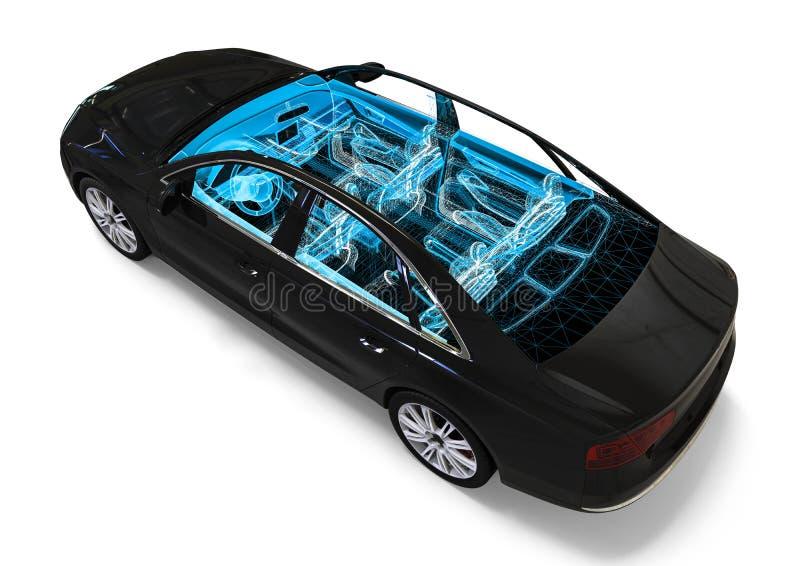 Processus de développement d'intérieur de voiture illustration stock