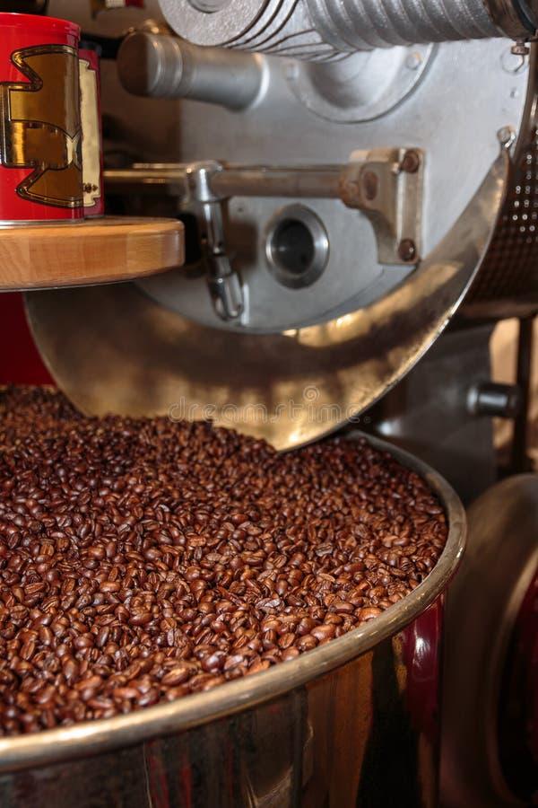 Processus de grains de café dans la machine de torréfaction photos libres de droits