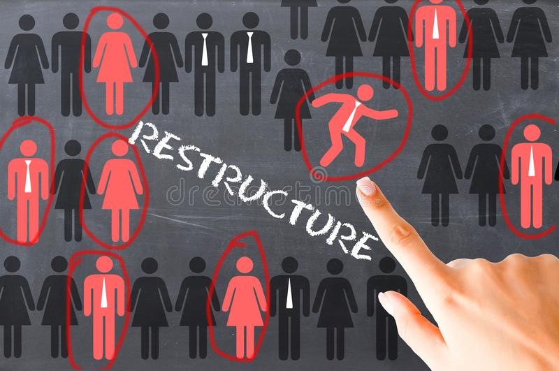 Processus de restructuration de ressources humaines illustré sur le tableau noir images stock