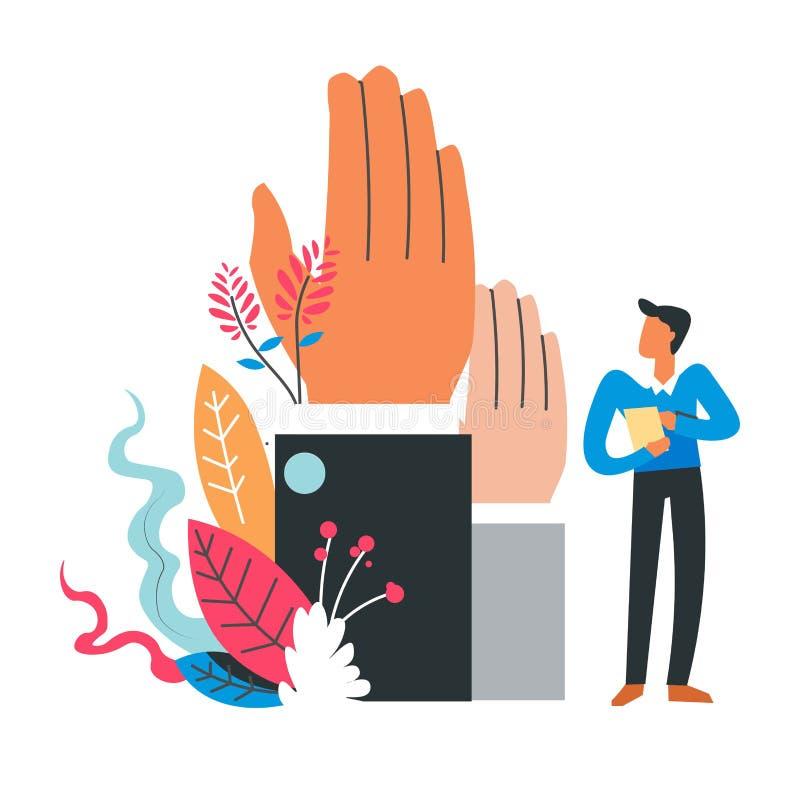Processus de vote, élection, système électoral, un électeur avec le vote regardant deux mains dans les costumes, différents candi illustration libre de droits