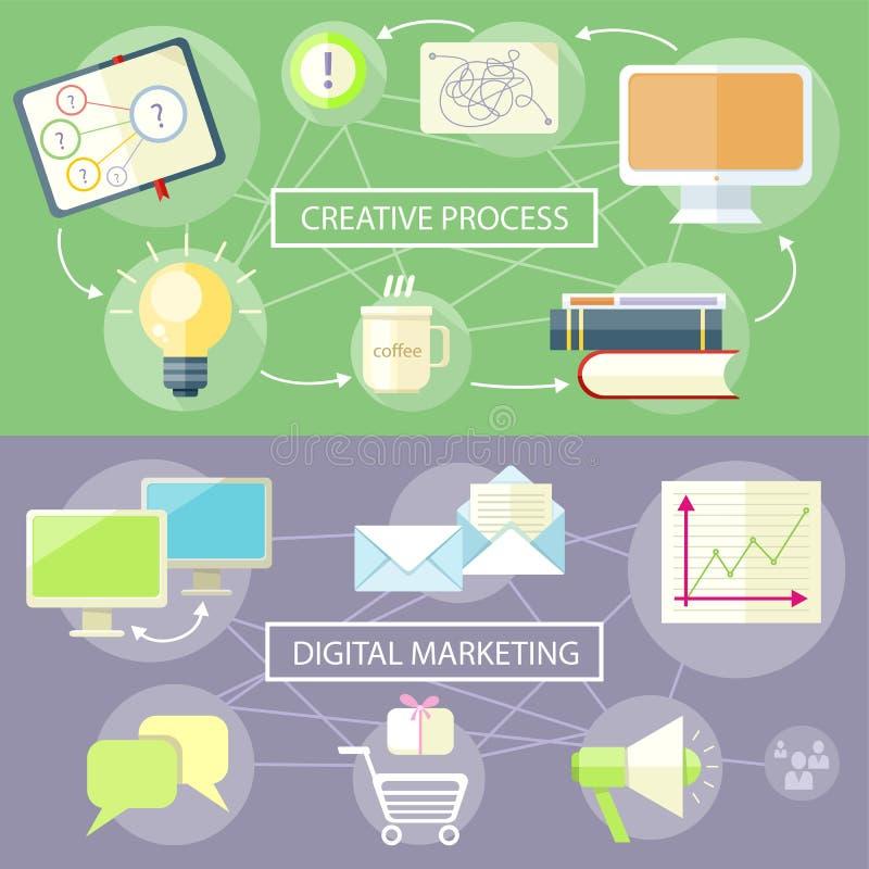 Processus et vente créatifs de Digital illustration stock