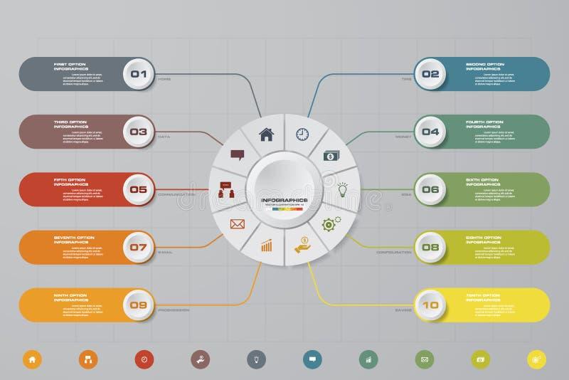Processus moderne de 10 étapes Élément de conception d'abrégé sur Simple&Editable illustration libre de droits