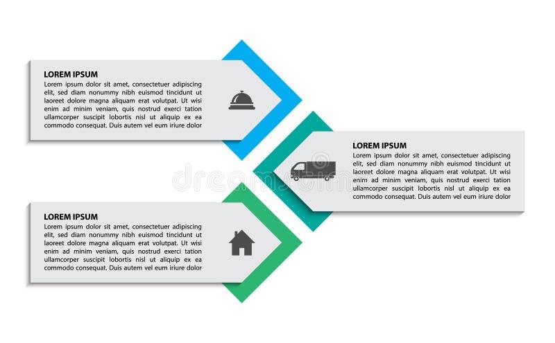 Processus trois de place d'Infographic concept de 3 étapes illustration libre de droits