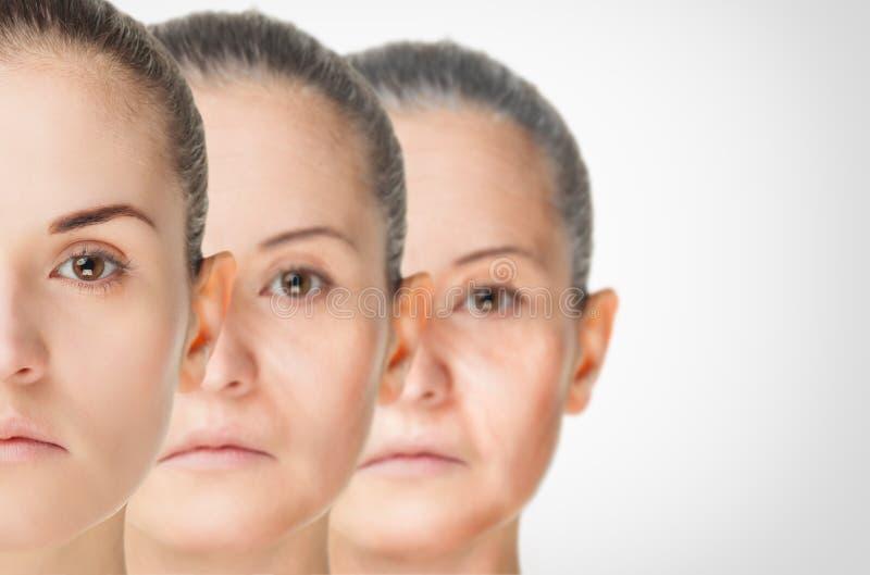 Processus vieillissant, procédures anti-vieillissement de peau de rajeunissement photographie stock libre de droits