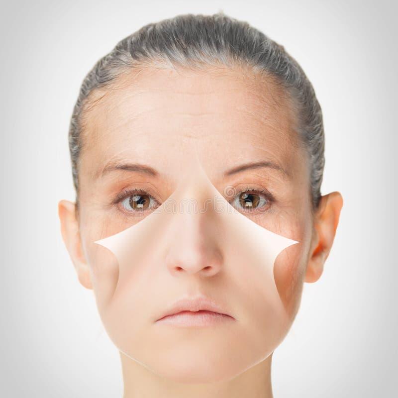 Processus vieillissant, procédures anti-vieillissement de peau de rajeunissement image libre de droits