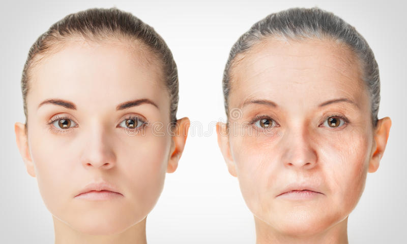 Processus vieillissant, procédures anti-vieillissement de peau de rajeunissement images libres de droits