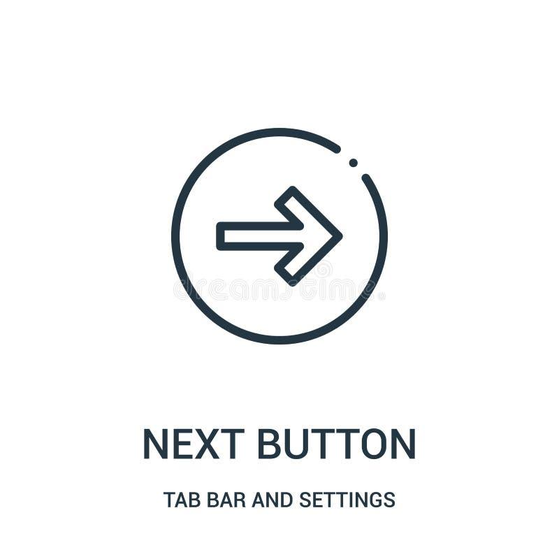prochain vecteur d'icône de bouton de barre d'étiquette et de collection d'arrangements Ligne mince prochaine illustration de vec illustration libre de droits