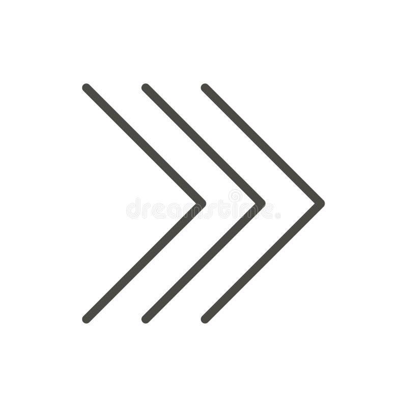 Prochaine icône, vecteur de flèche droite Ligne symbole en avant d'isolement Tre illustration de vecteur