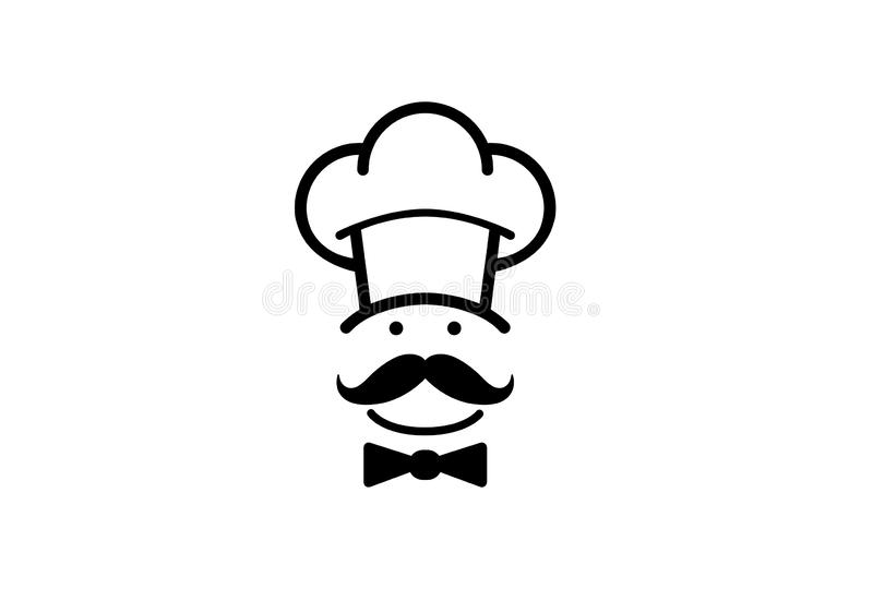 Prochef-kok Mustache Head Logo stock illustratie