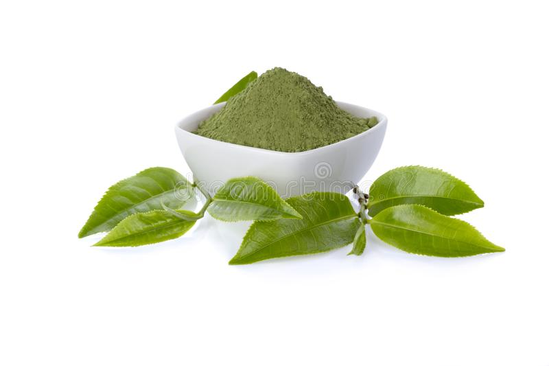Prochowa zielona herbata i zielona herbata liść zdjęcie stock