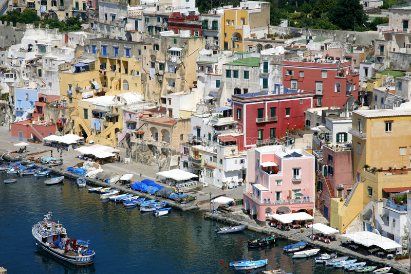 Procida, Beautiful island in the mediterranean sea stock photography