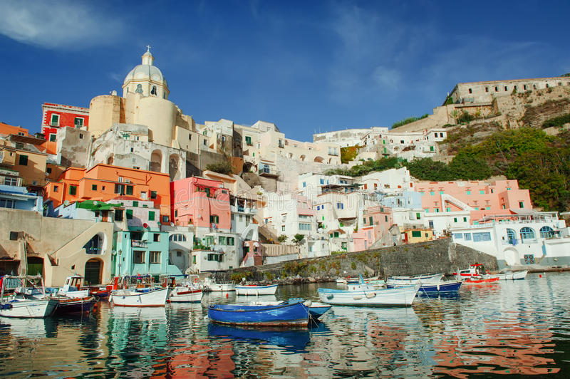 Procida colorful island in the gulf of Naples, Mediterranean sea, Italy stock image