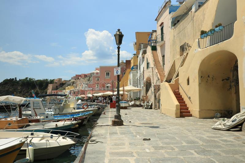 Procida Island near Naples. Port of Corricella frequented by fis stock image