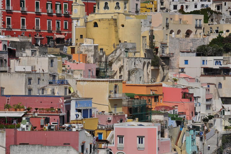 Procida, Marina Corricella, Napels - Napoli - Italië stock foto's
