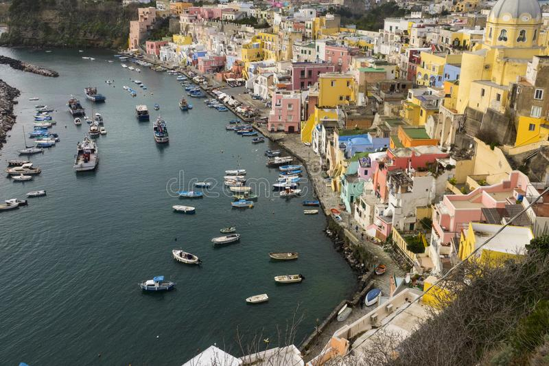 Procida is one of the Flegrean Islands off the coast of Naples i royalty free stock images