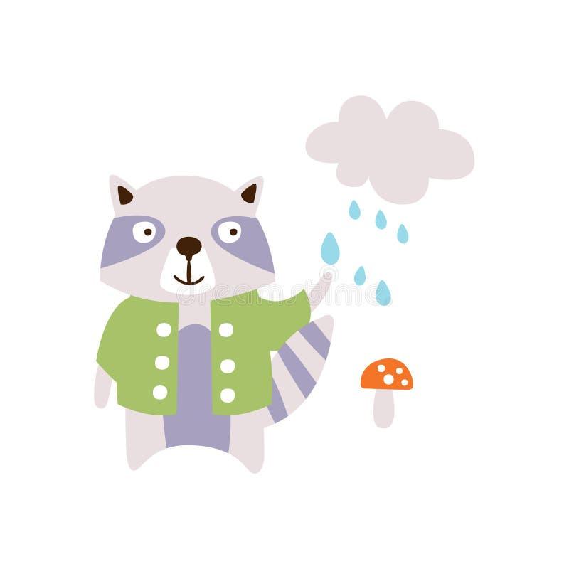Procione che porta cappotto verde sotto la pioggia nell'illustrazione del carattere di Autumn Standing Upright Humanized Animal i illustrazione di stock