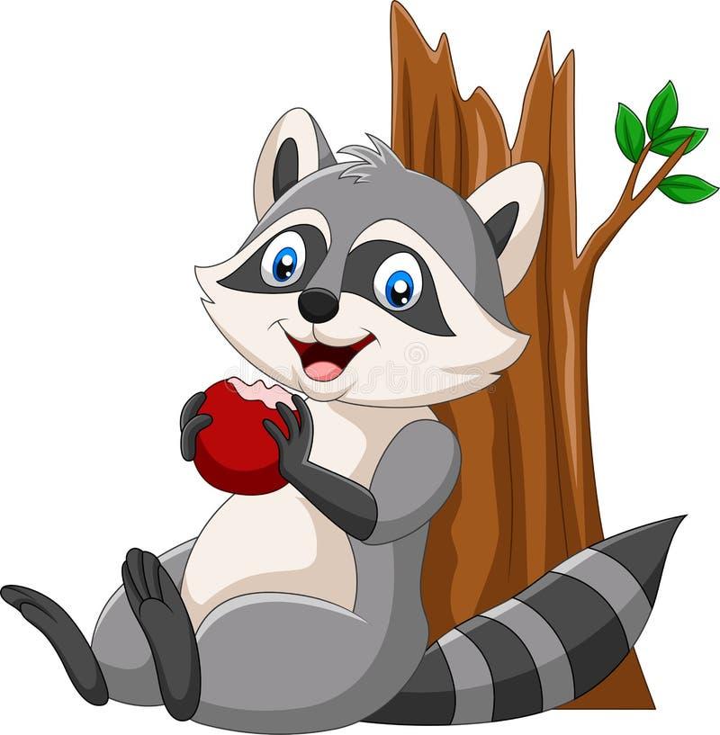 Procione del fumetto che mangia una mela rossa illustrazione di stock