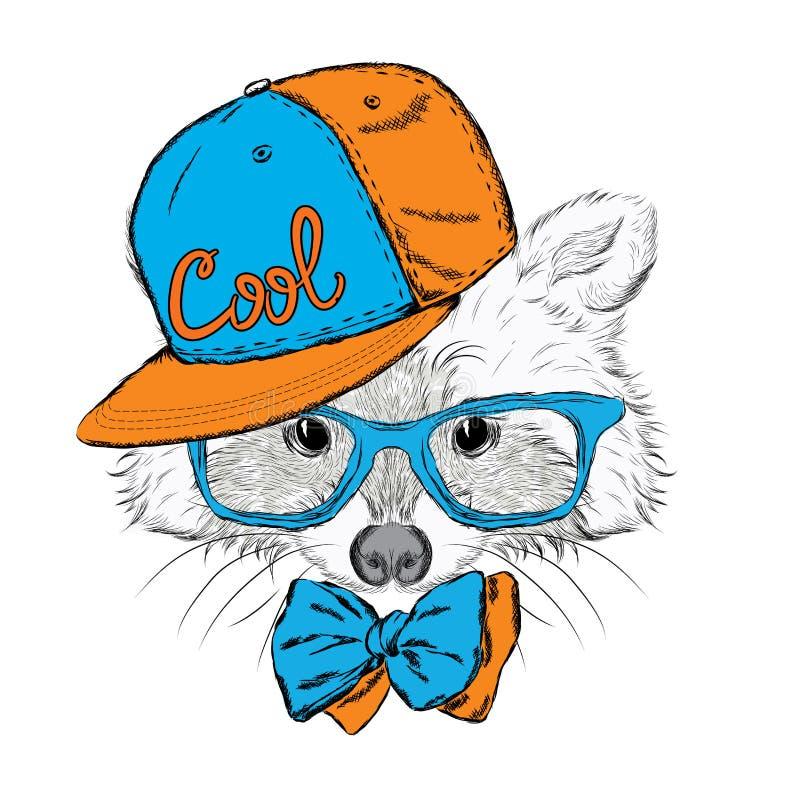 Procione in un cappuccio ed in un legame hipster illustrazione di stock