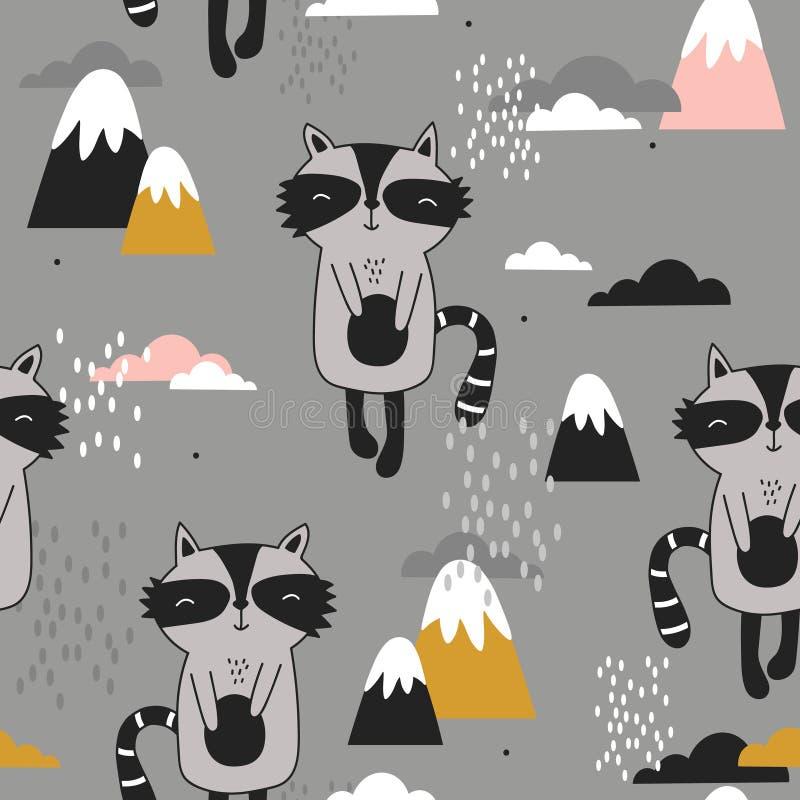 Procioni felici, montagne, modello senza cuciture variopinto Fondo sveglio decorativo con gli animali royalty illustrazione gratis