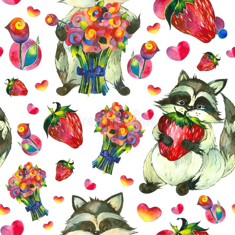Procioni, fragole e fiori fotografie stock libere da diritti