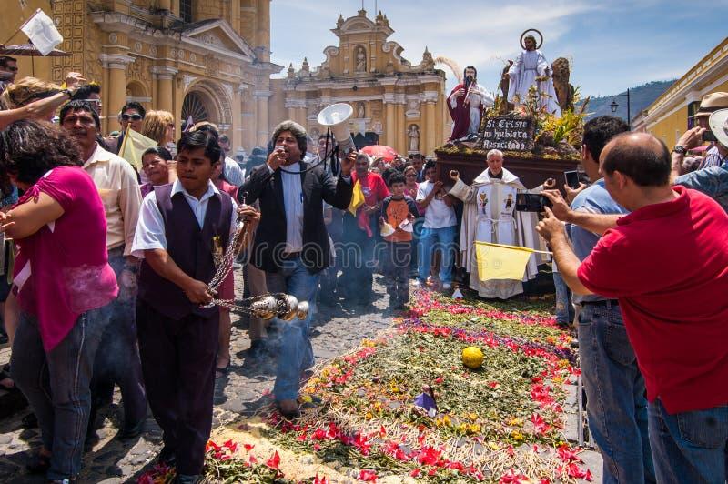 Procissão do Domingo de Páscoa, Antígua, Guatemala imagens de stock