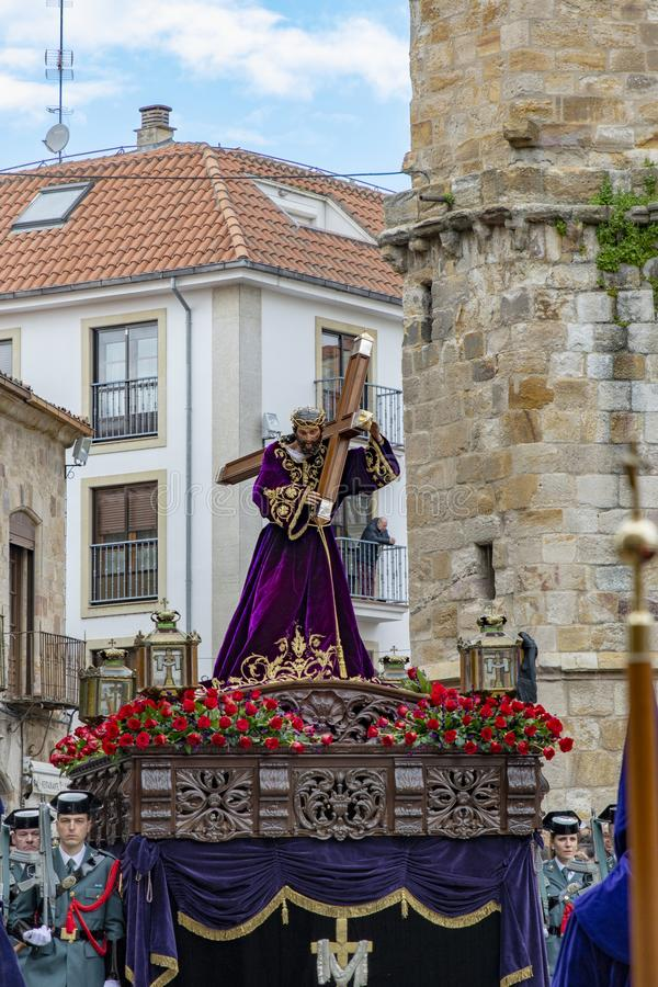Procissão santamente de quinta-feira em Zamora, Espanha foto de stock royalty free