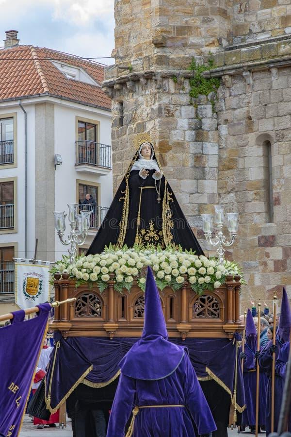 Procissão santamente de quinta-feira em Zamora, Espanha fotos de stock royalty free