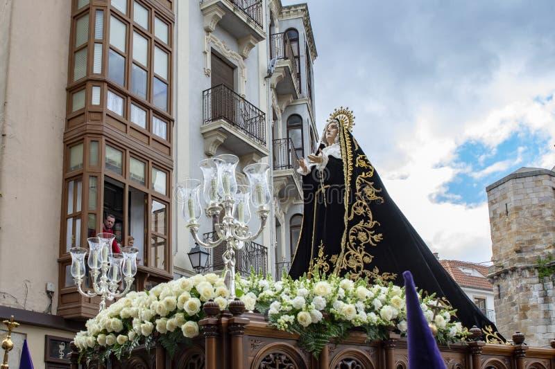 Procissão santamente de quinta-feira em Zamora, Espanha imagens de stock