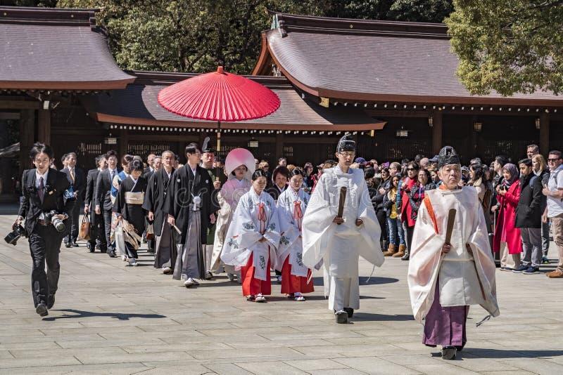 Procissão xintoísmo do casamento, Meiji Jingu fotografia de stock