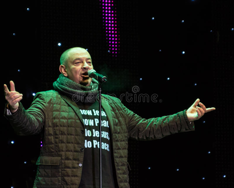 Bogdan Marin (Bodo). From Proconsul Band at New Years Eve 2014 concert organized by District 3, Bucharest stock images