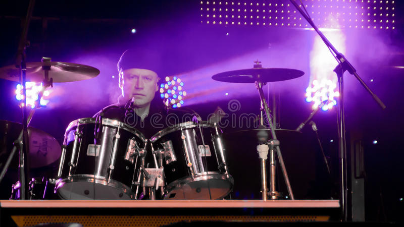 Valentin Petricenco. (drums) from Proconsul Band at New Years Eve 2014 concert organized by District 3, Bucharest royalty free stock photography