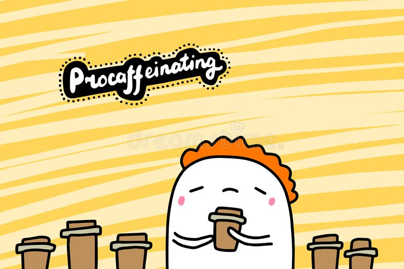 Procrastinating with coffee hand drawn vector illustration in cartoon comic style man drinking too much royalty free illustration