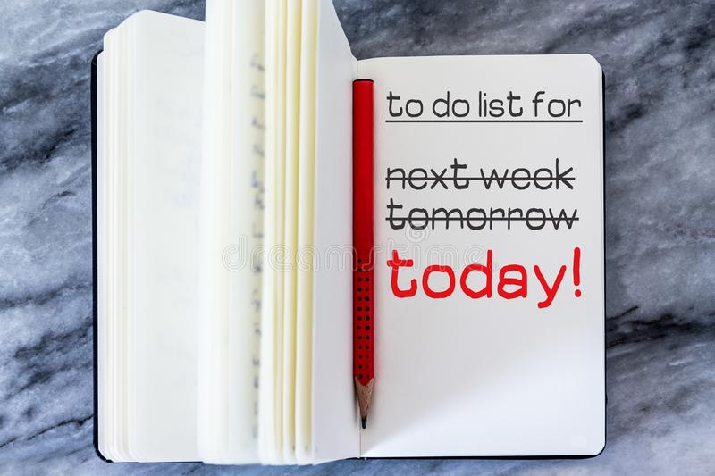 Procrastination Concept. The Word Today Written in Red on a To-Do List royalty free stock photos