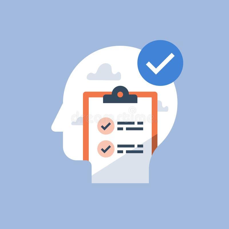 Procrastination solution, work project agenda, progress checklist, time management, to do list, clipboard survey, examination test royalty free illustration
