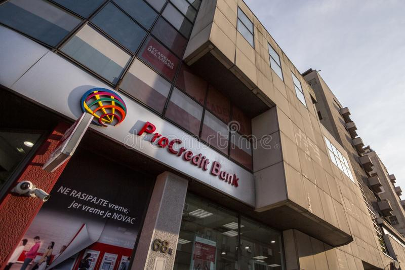 ProCreditBank logo on their main office for Serbia. Pro Credit Bank is a German financial institution. Picture of the ProCreditBank sign with their logo on their royalty free stock photos